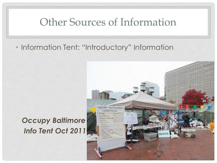 Other Sources of Information