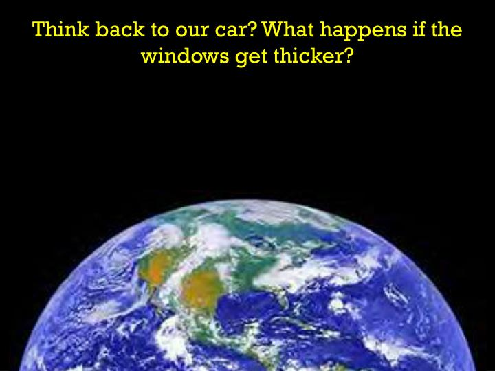 Think back to our car? What happens if the windows get thicker?