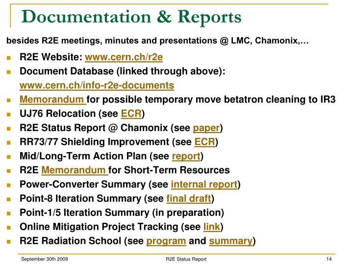 Documentation & Reports