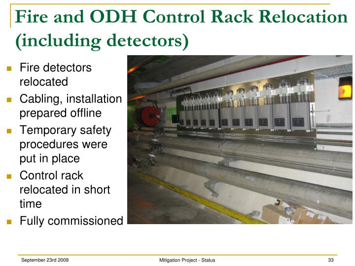 Fire and ODH Control Rack Relocation