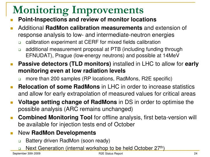 Monitoring Improvements