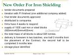 new order for iron shielding