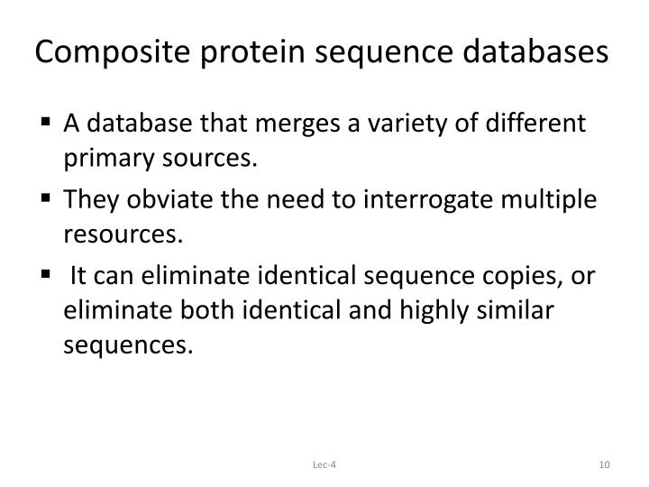 Composite protein sequence databases