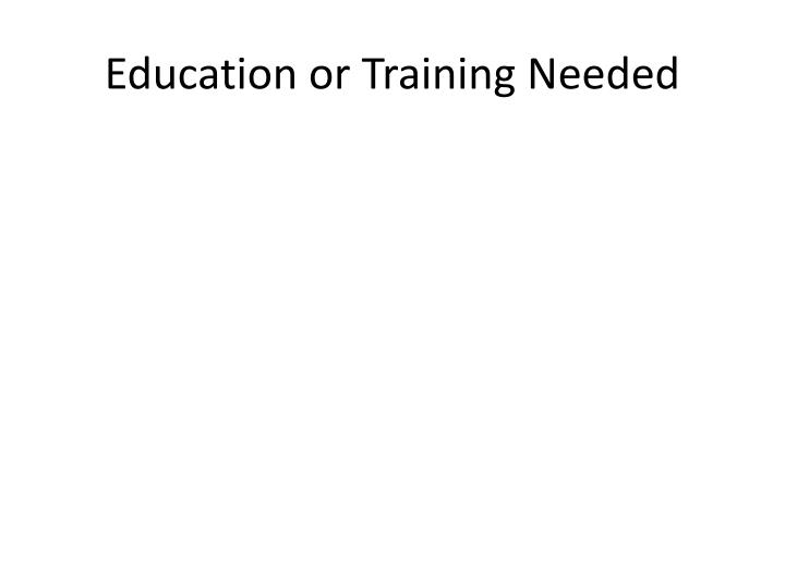 Education or Training Needed