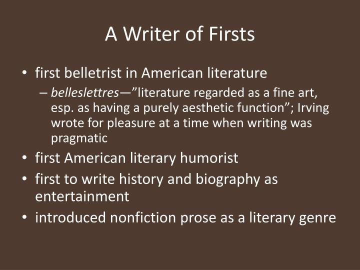 A writer of firsts