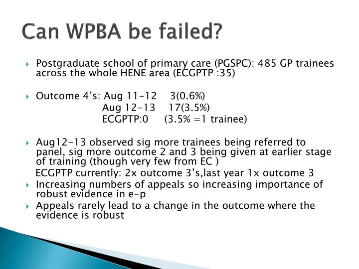 Can WPBA be failed?