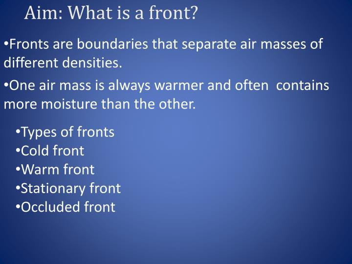 aim what is a front