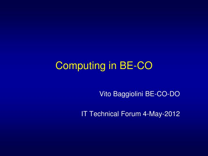 Computing in BE-CO