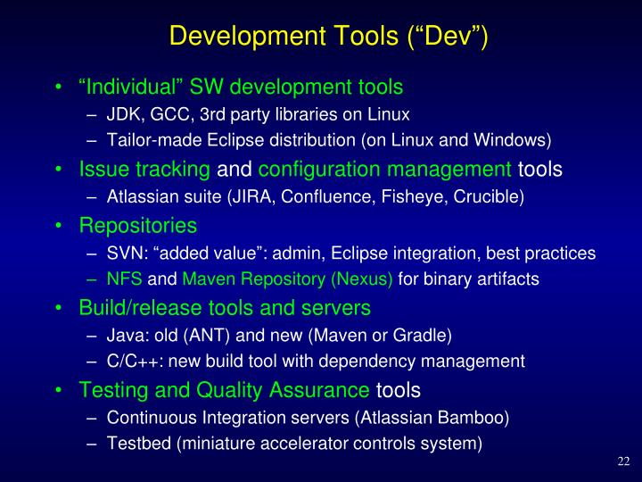 "Development Tools (""Dev"")"