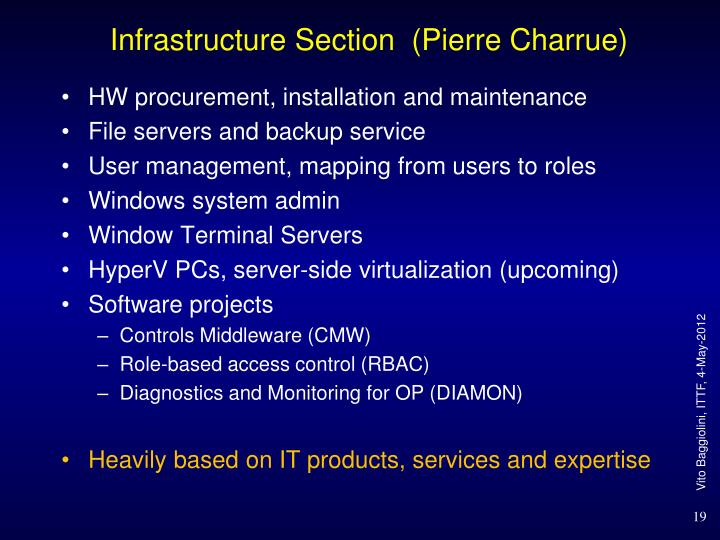 Infrastructure Section  (Pierre Charrue)
