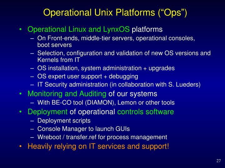 "Operational Unix Platforms (""Ops"")"