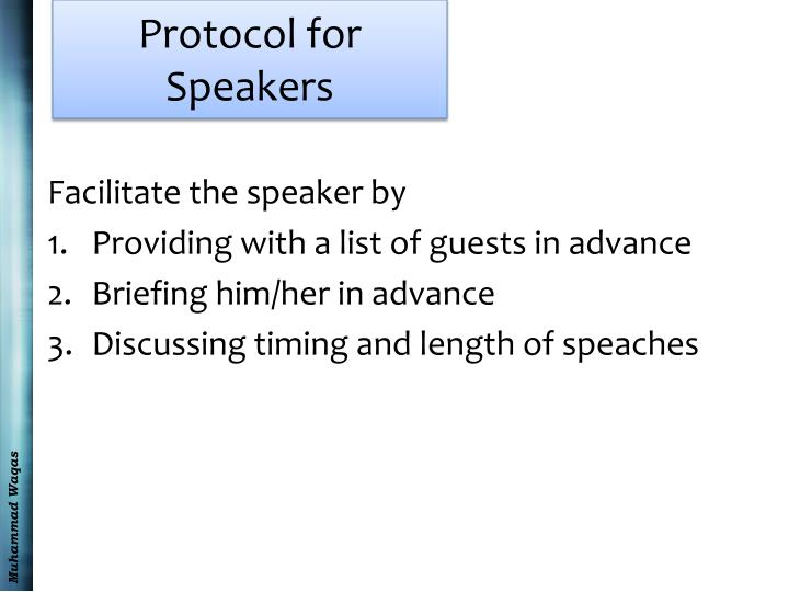 Protocol for Speakers