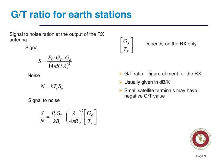 G/T ratio for earth stations