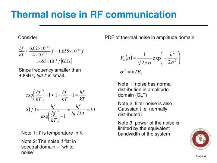 Thermal noise in RF communication