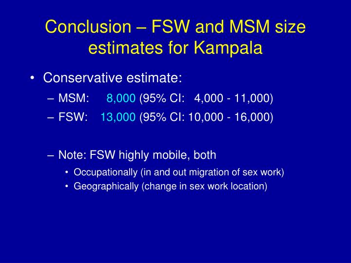 Conclusion – FSW and MSM size estimates for Kampala