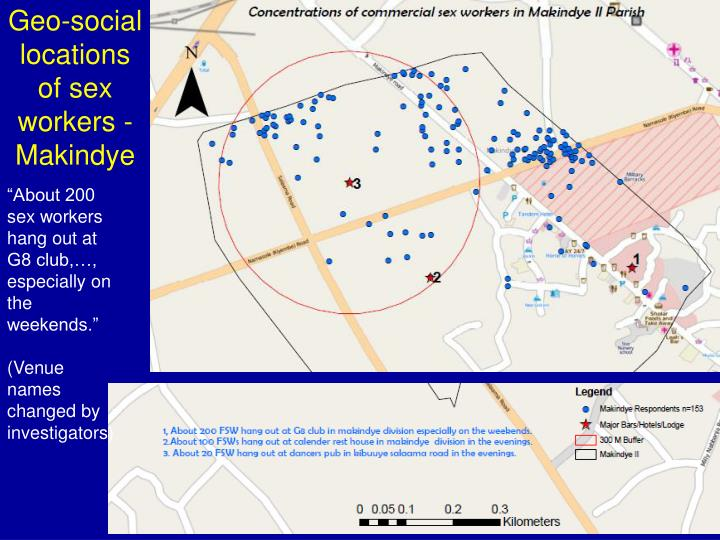 Geo-social locations of sex workers -