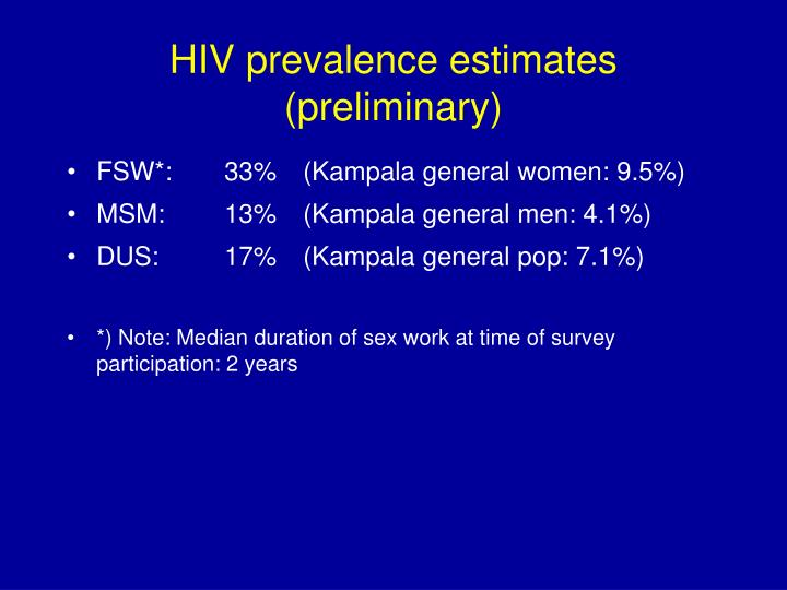 HIV prevalence estimates (preliminary)