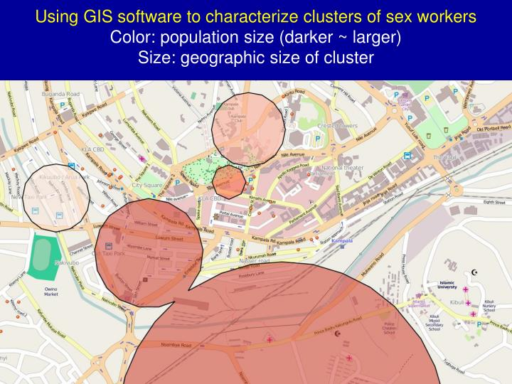 Using GIS software to characterize clusters of sex workers