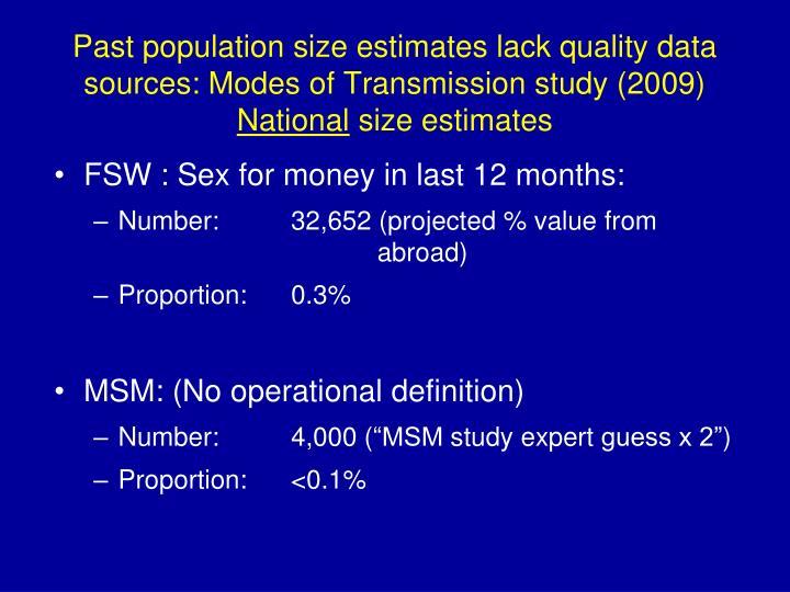 Past population size estimates lack quality data sources: Modes of Transmission study (2009)