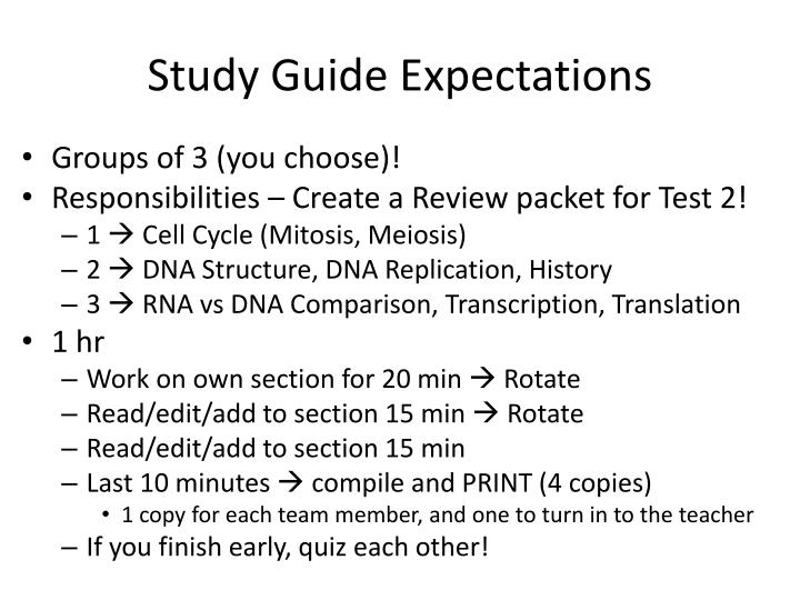 Study Guide Expectations