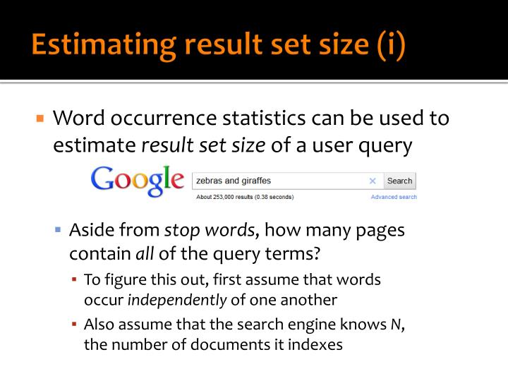 Estimating result set size (i)
