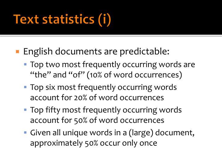 Text statistics (i)