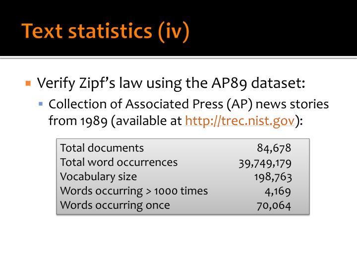 Text statistics (iv)