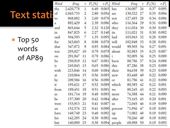 Text statistics (v)
