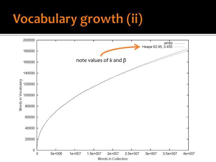 Vocabulary growth (ii)
