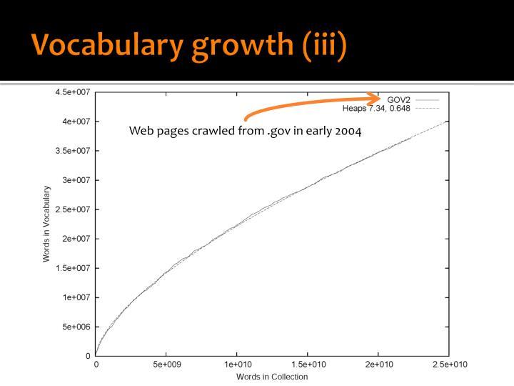 Vocabulary growth (iii)