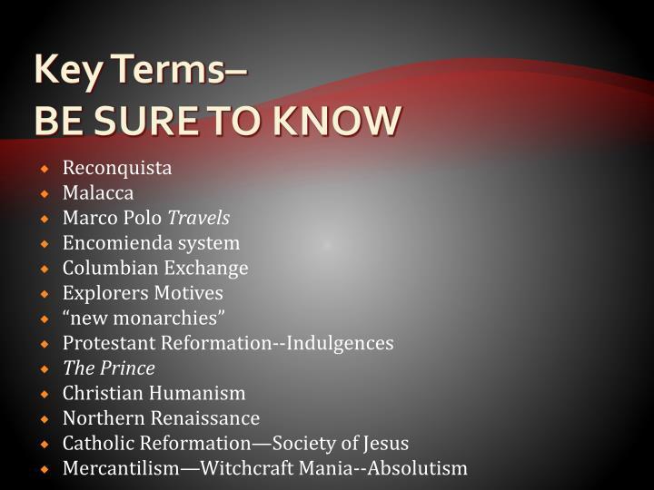 Key Terms–