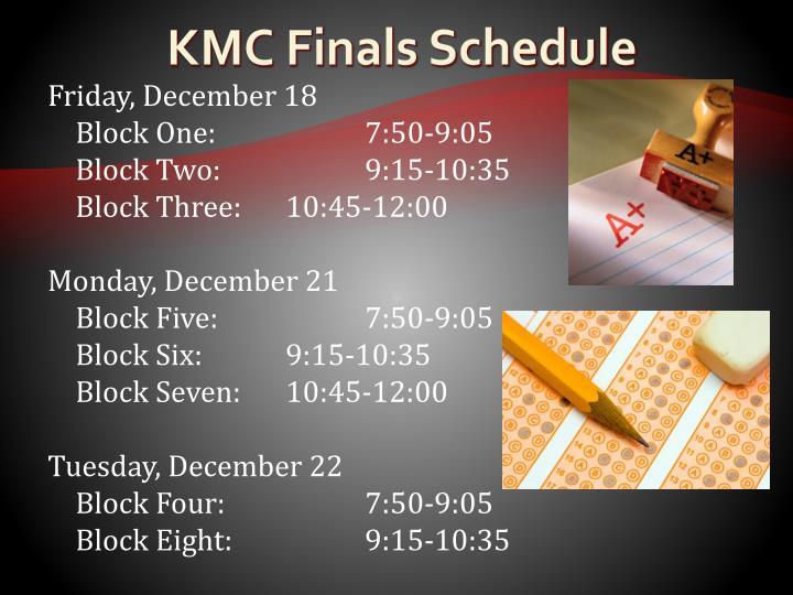 KMC Finals Schedule