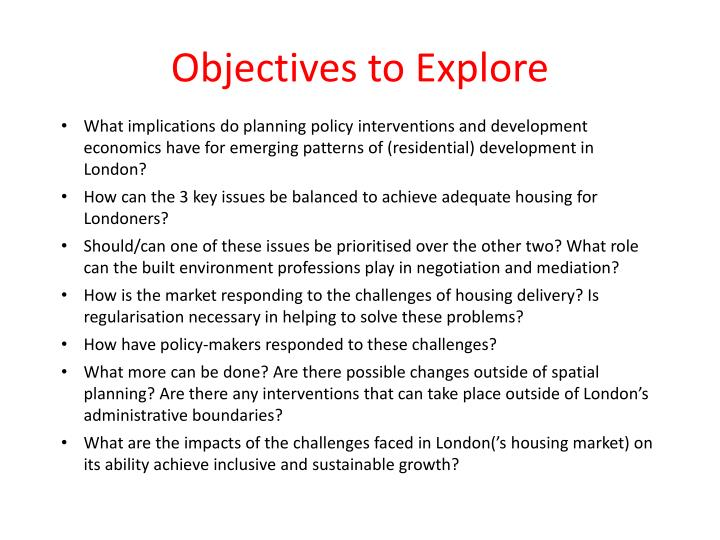 Objectives to Explore