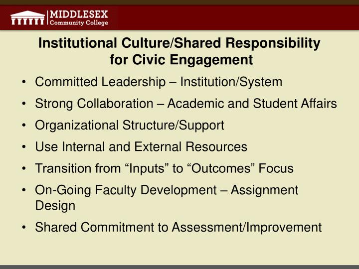 Institutional Culture/Shared Responsibility