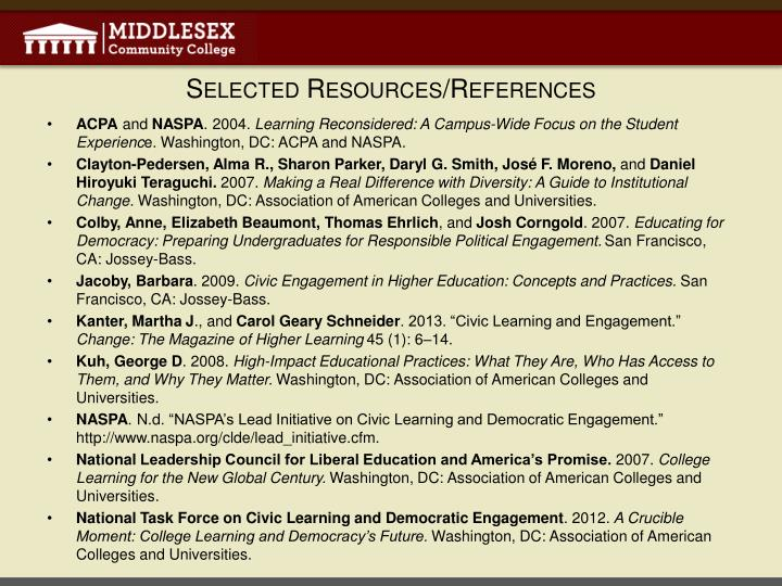 Selected Resources/References