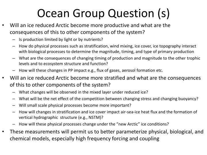 ocean group question s