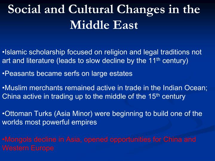 Social and Cultural Changes in the Middle East