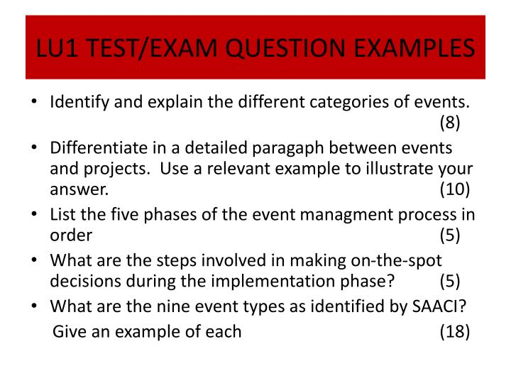 LU1 TEST/EXAM QUESTION EXAMPLES