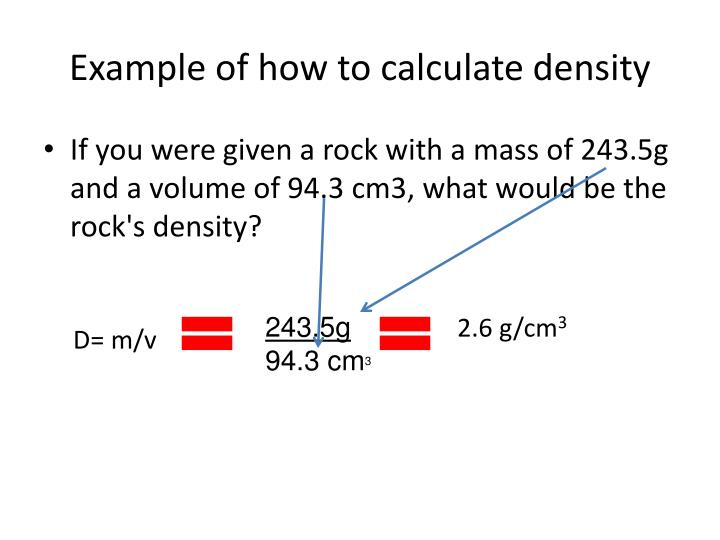 Example of how to calculate density