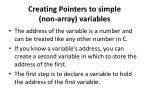 creating pointers to simple non array variables