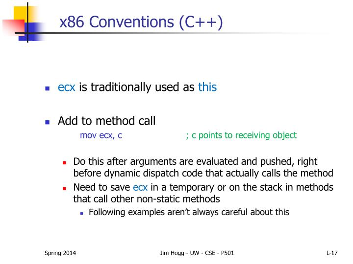 x86 Conventions (C++)