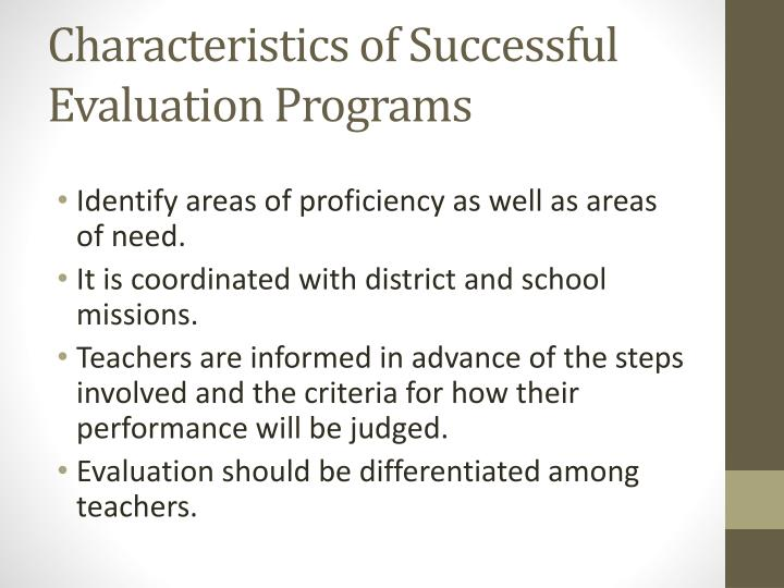 Characteristics of Successful Evaluation Programs