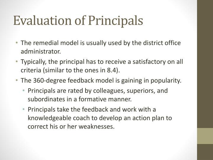 Evaluation of Principals
