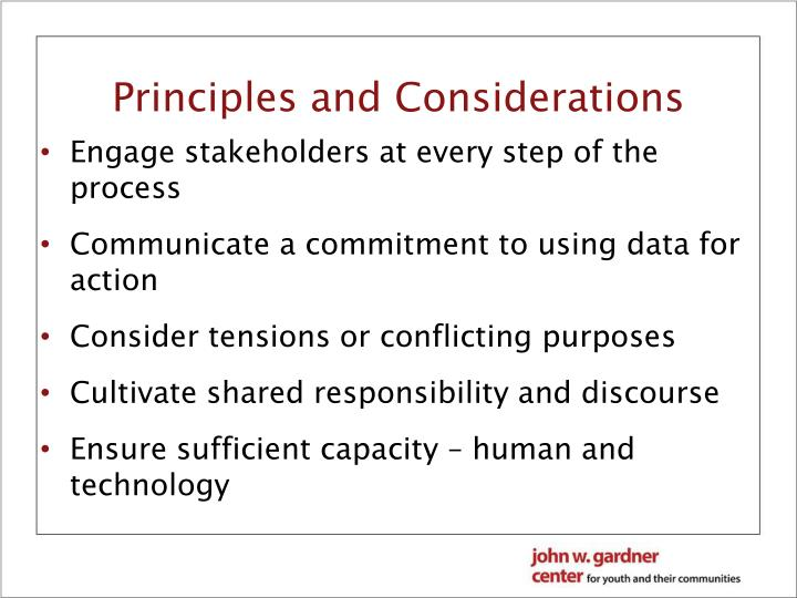 Principles and Considerations