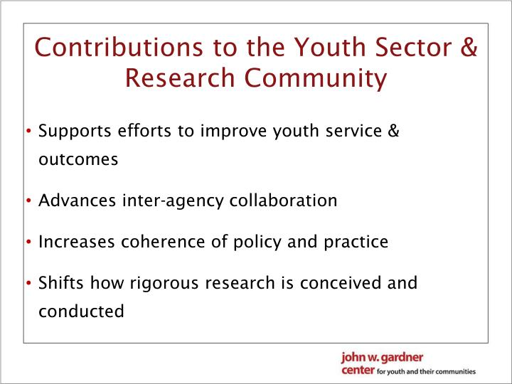 Contributions to the Youth Sector & Research Community