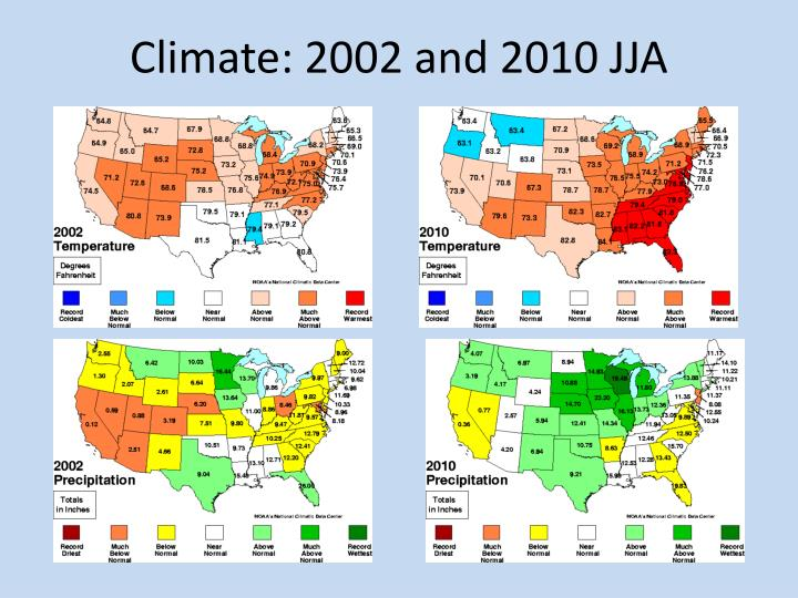 Climate: 2002 and 2010 JJA