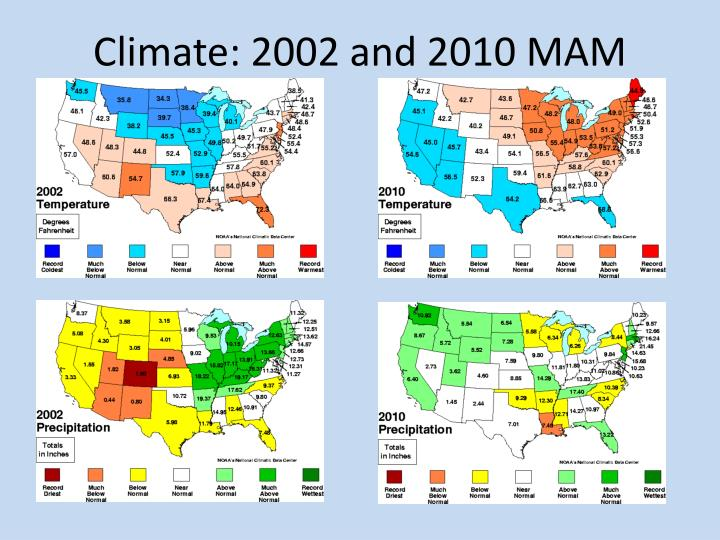 Climate: 2002 and 2010 MAM