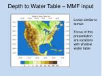 depth to water table mmf input