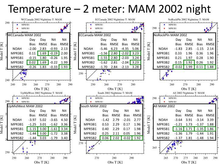 Temperature – 2 meter: MAM 2002 night