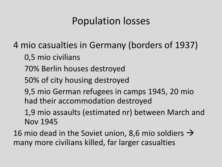 Population losses